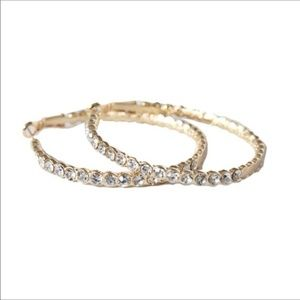 Crystal gold hoop earrings